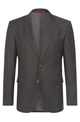 Finely checked regular-fit jacket in new wool: 'C-Jeys1', Anthracite
