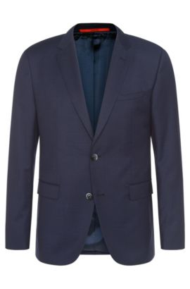 Finely checked regular-fit jacket in new wool: 'C-Jeys1', Dark Blue