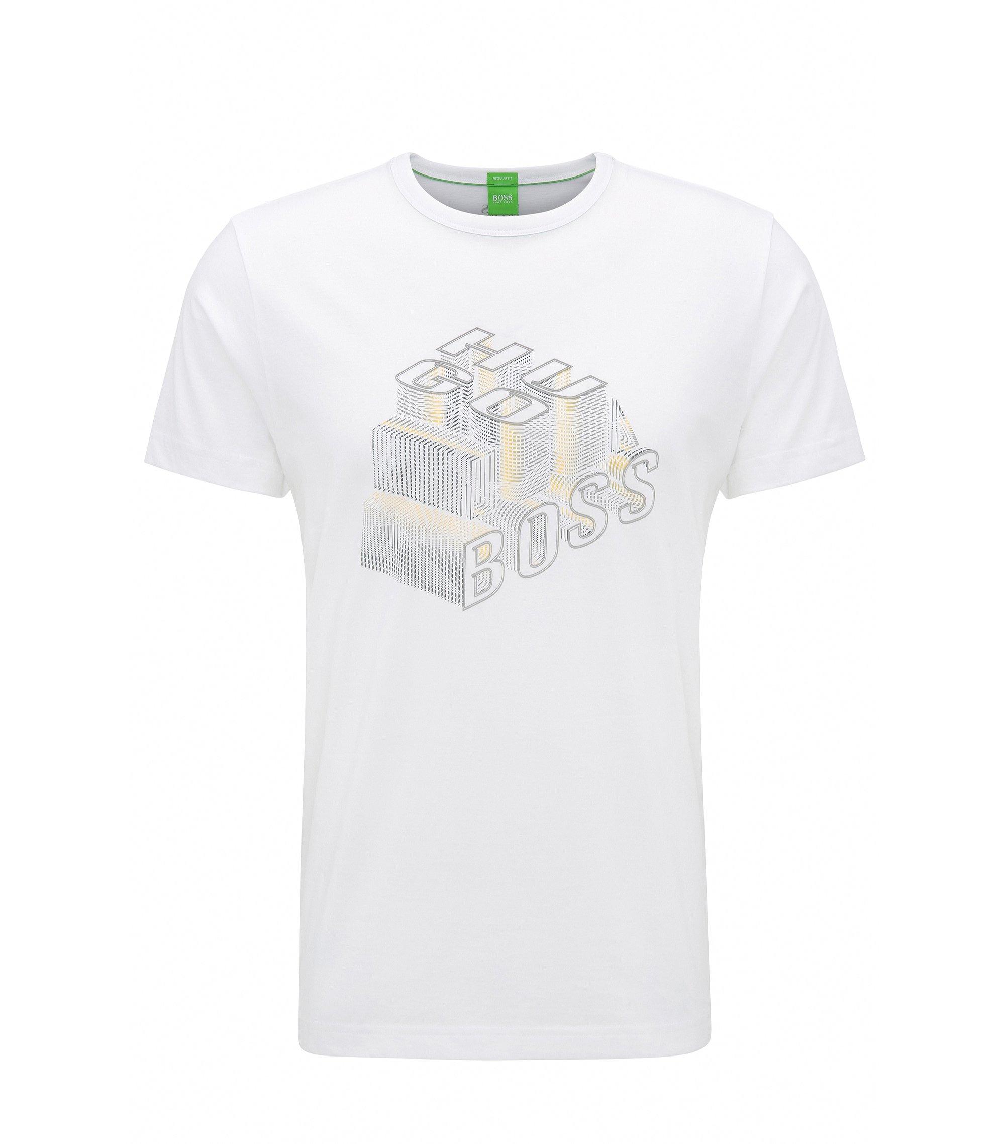 Camiseta regular fit de algodón con ilustración de efecto 3D, Blanco