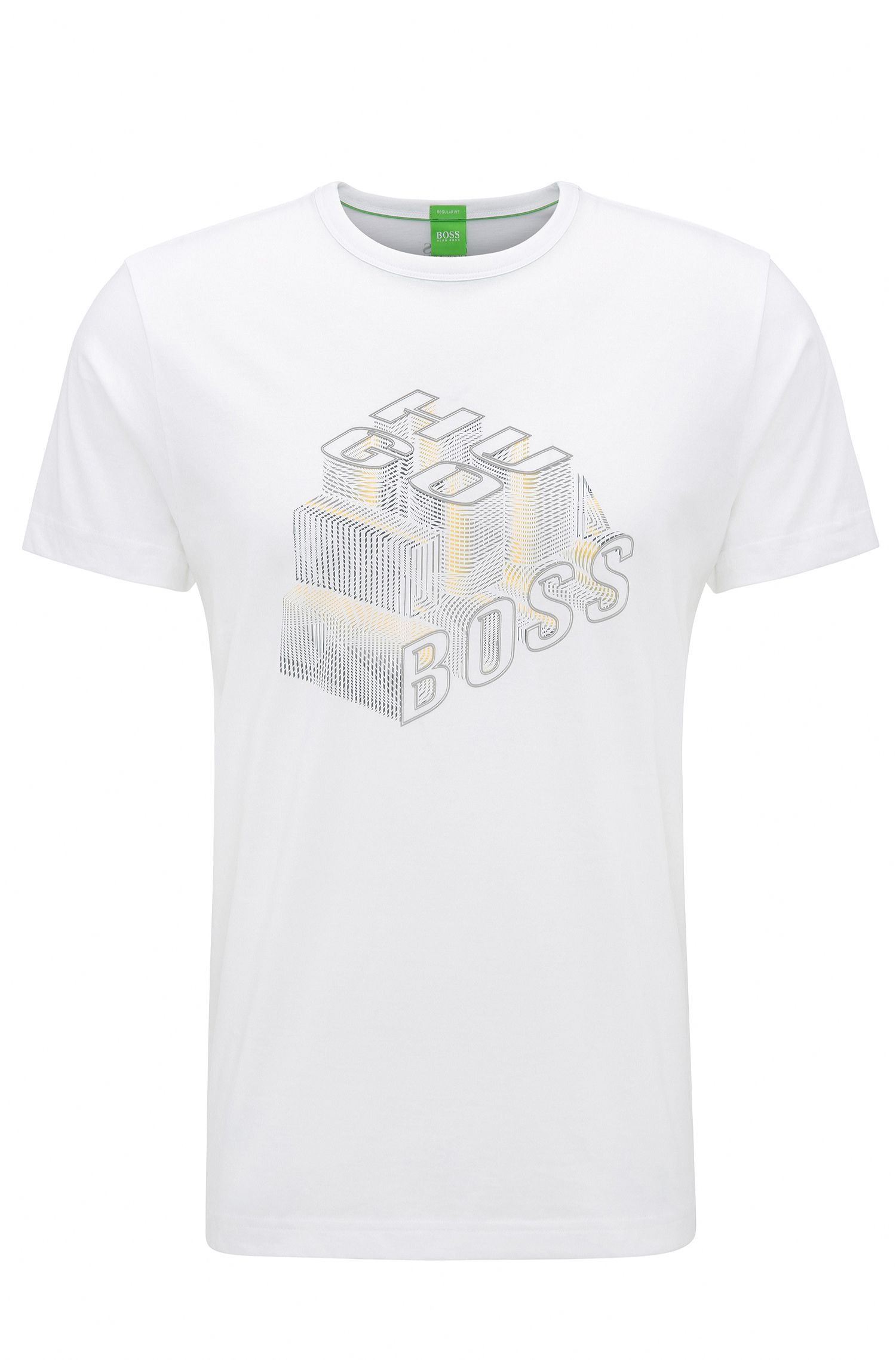T-shirt regular fit in cotone con stampa effetto 3D