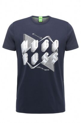 Regular-fit cotton T-shirt with bold artwork, Dark Blue
