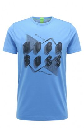 Regular-Fit T-Shirt aus Baumwolle mit markantem Print, Blau