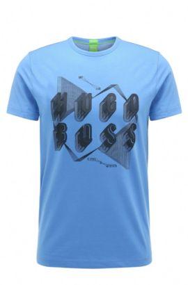 T-shirt Regular Fit en coton orné d'un motif arty, Bleu