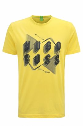 T-shirt Regular Fit en coton orné d'un motif arty, Jaune clair