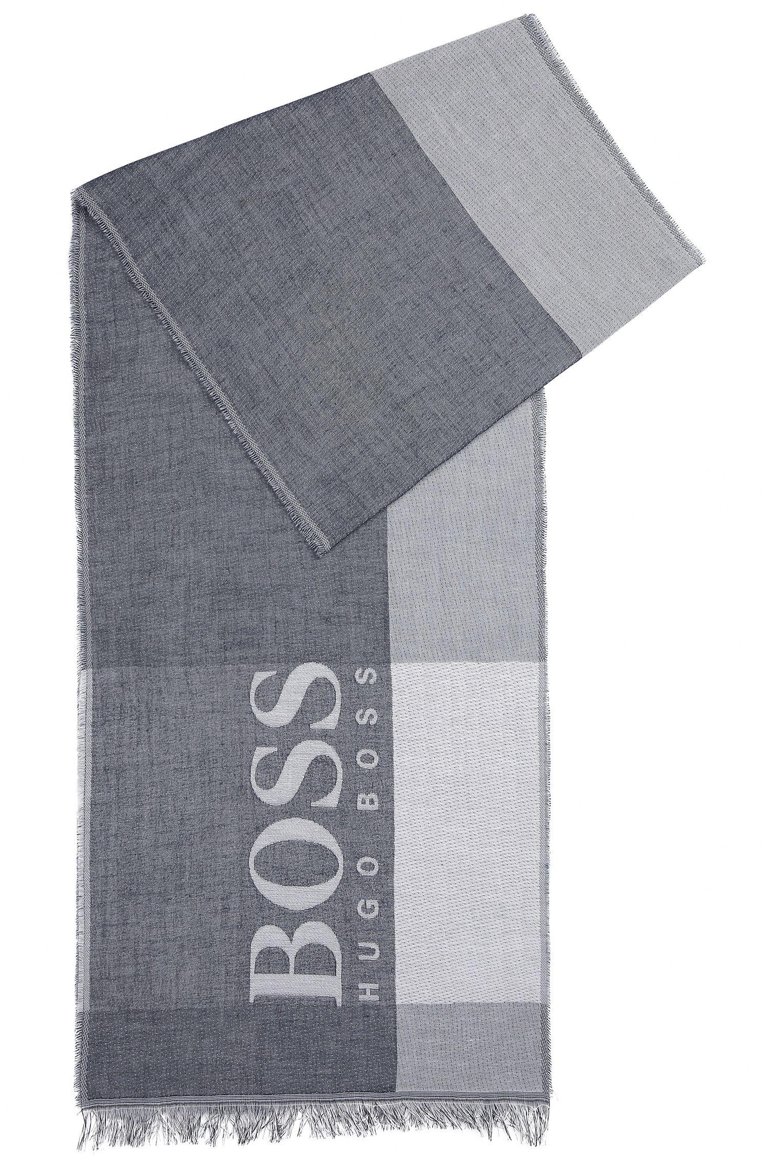 Sciarpa in cotone a blocchi di colore con logo di grandi dimensioni