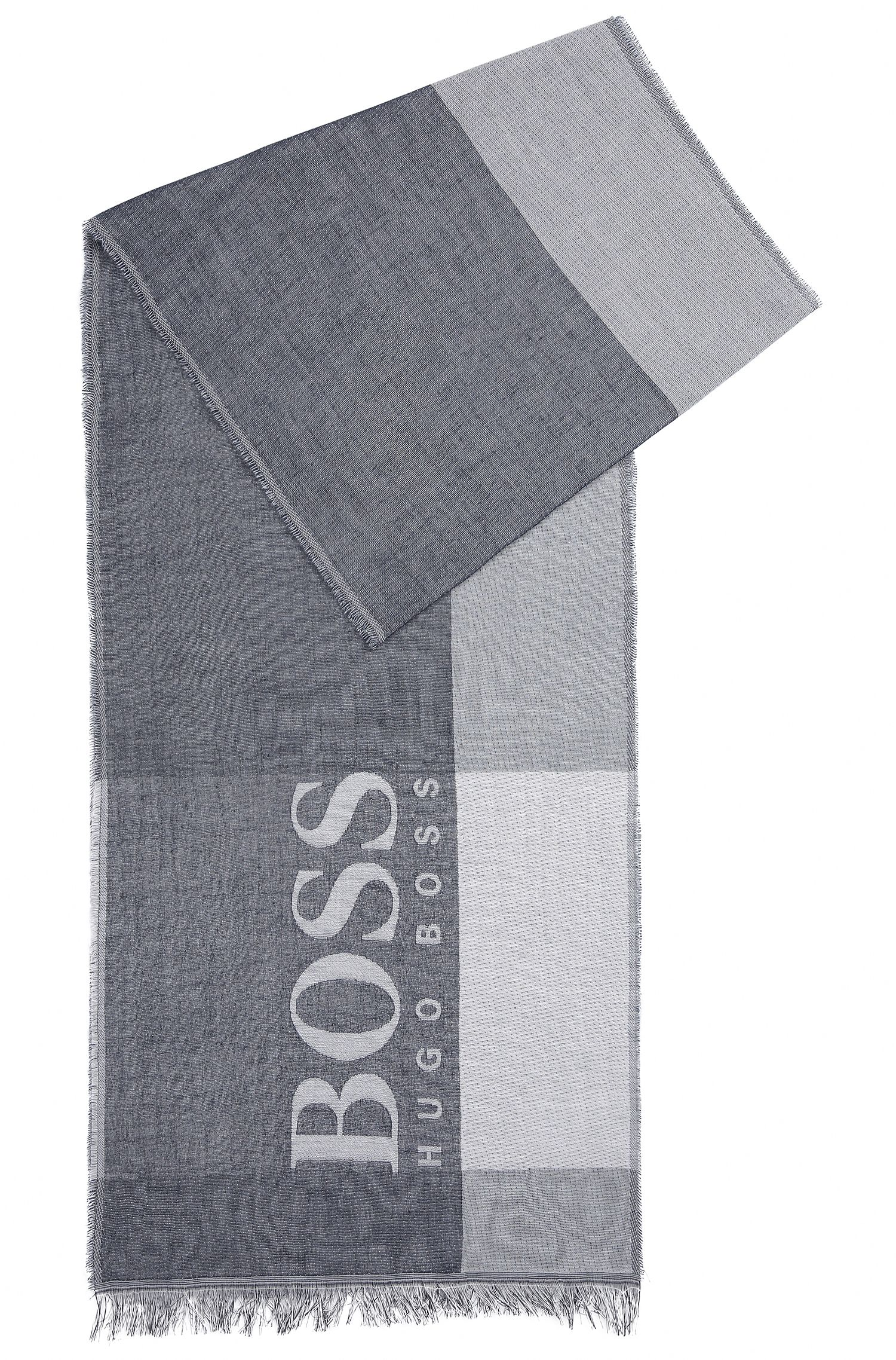 Colourblock cotton scarf with large-scale logo