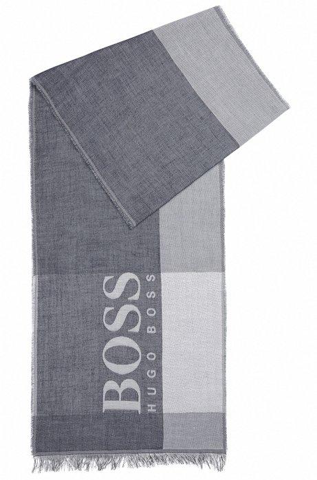 Colourblock cotton scarf with large-scale logo, Dark Blue