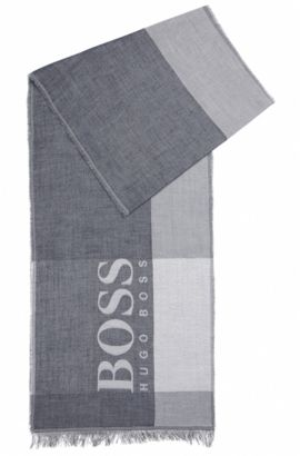 Colourblock cotton scarf with large-scale logo, Dark Blue