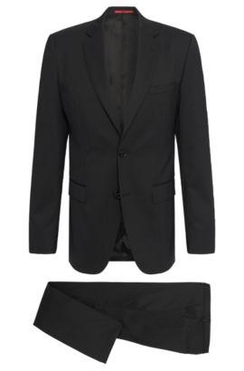 Traje regular fit en mezcla de lana virgen elástica: 'C-Jeffery/C-Simmons', Negro