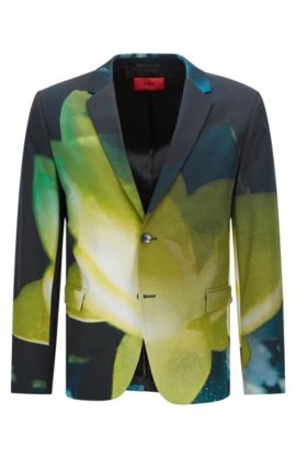 Patterned relaxed-fit jacket in stretch cotton: 'Arelto', Patterned
