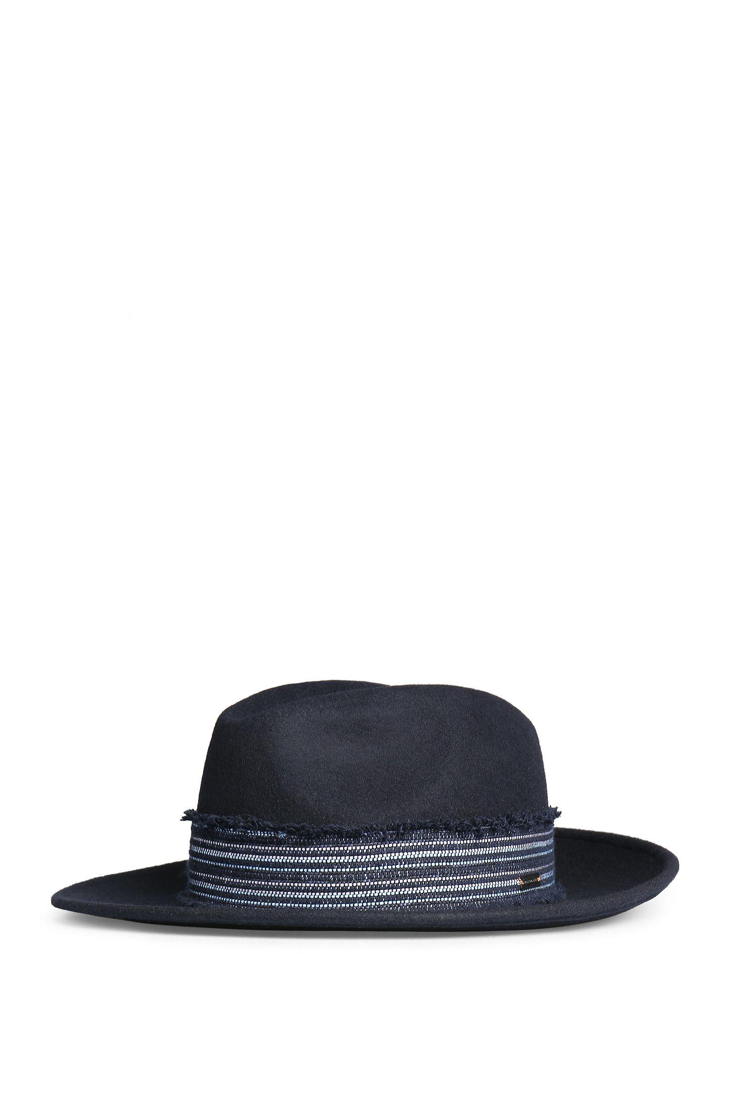 Cappello in feltro con banda in tweed