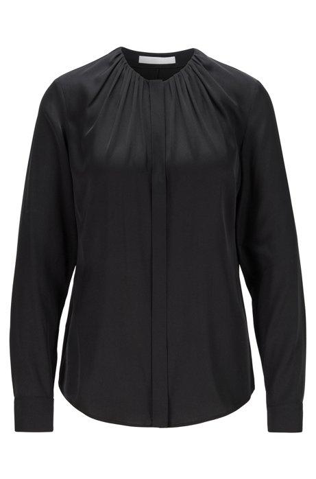 Silk-blend blouse with gathered neckline, Black