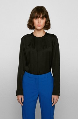 Silk-blend blouse with gathered neckline, Black