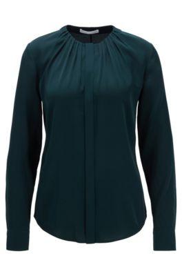 Bluse aus elastischem Seiden-Mix mit gerafftem Ausschnitt, Dunkelgrün