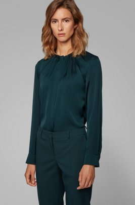 Silk-blend blouse with gathered neckline, Dark Green
