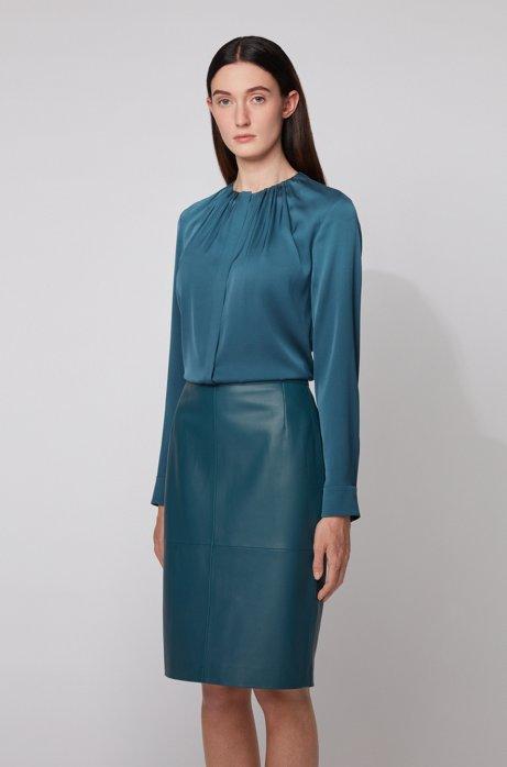 Silk-blend blouse with gathered neckline, Dark Blue