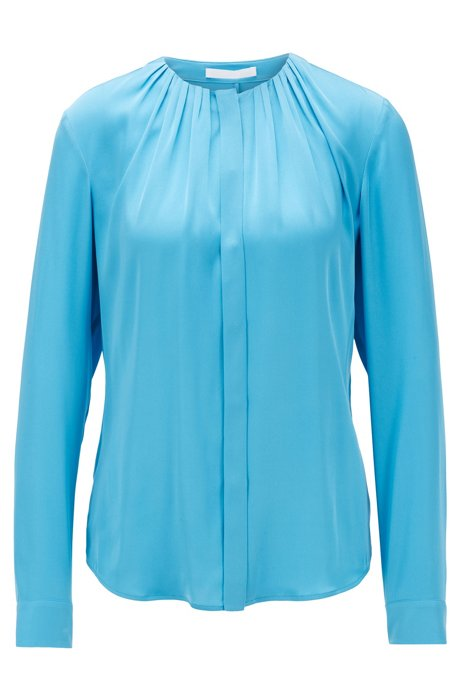 Silk-blend blouse with gathered neckline, Blue