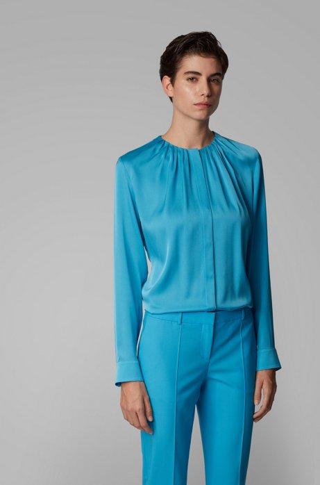 Bluse aus elastischem Seiden-Mix mit gerafftem Ausschnitt, Blau
