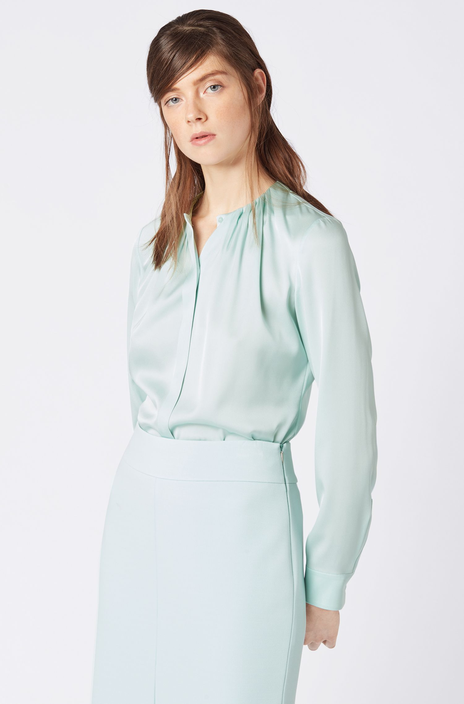 Silk-blend blouse with gathered neckline, Light Blue