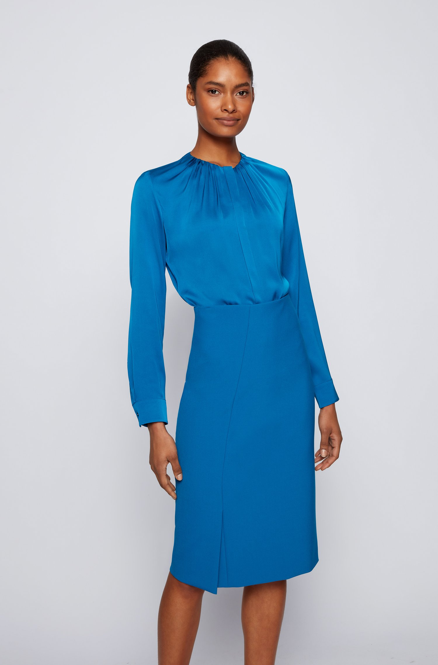 Silk-blend blouse with gathered neckline, Blue