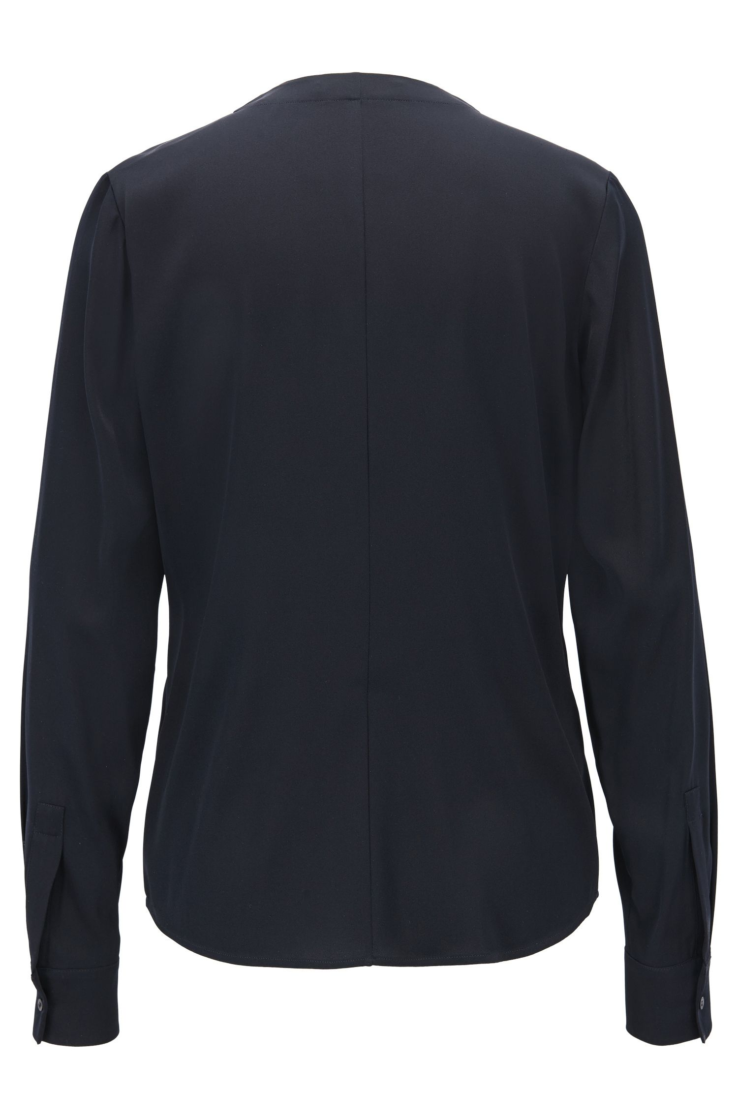 Silk-blend blouse with gathered neckline, Dark Blue