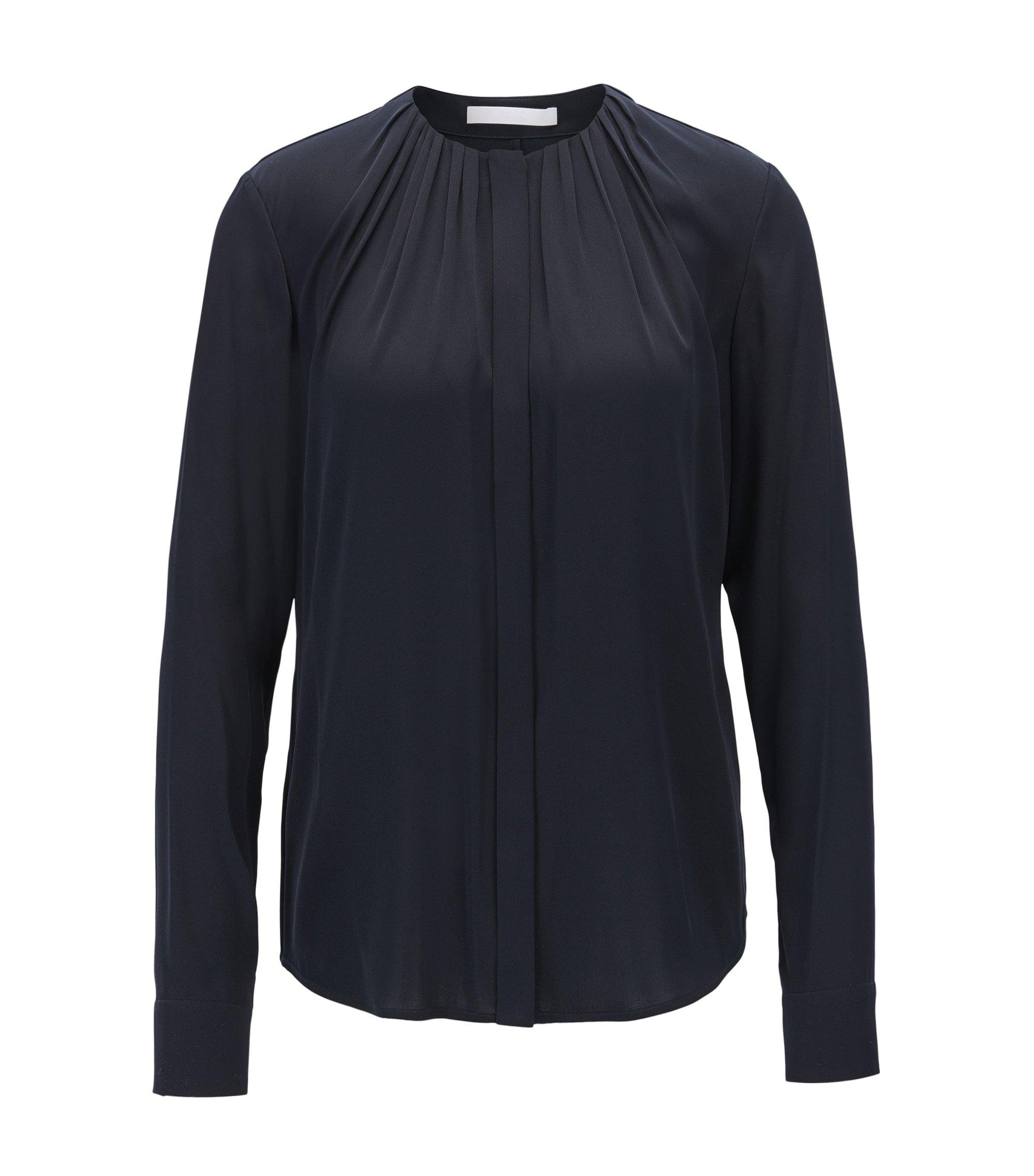 Bluse aus elastischem Seiden-Mix mit gerafftem Ausschnitt, Dunkelblau