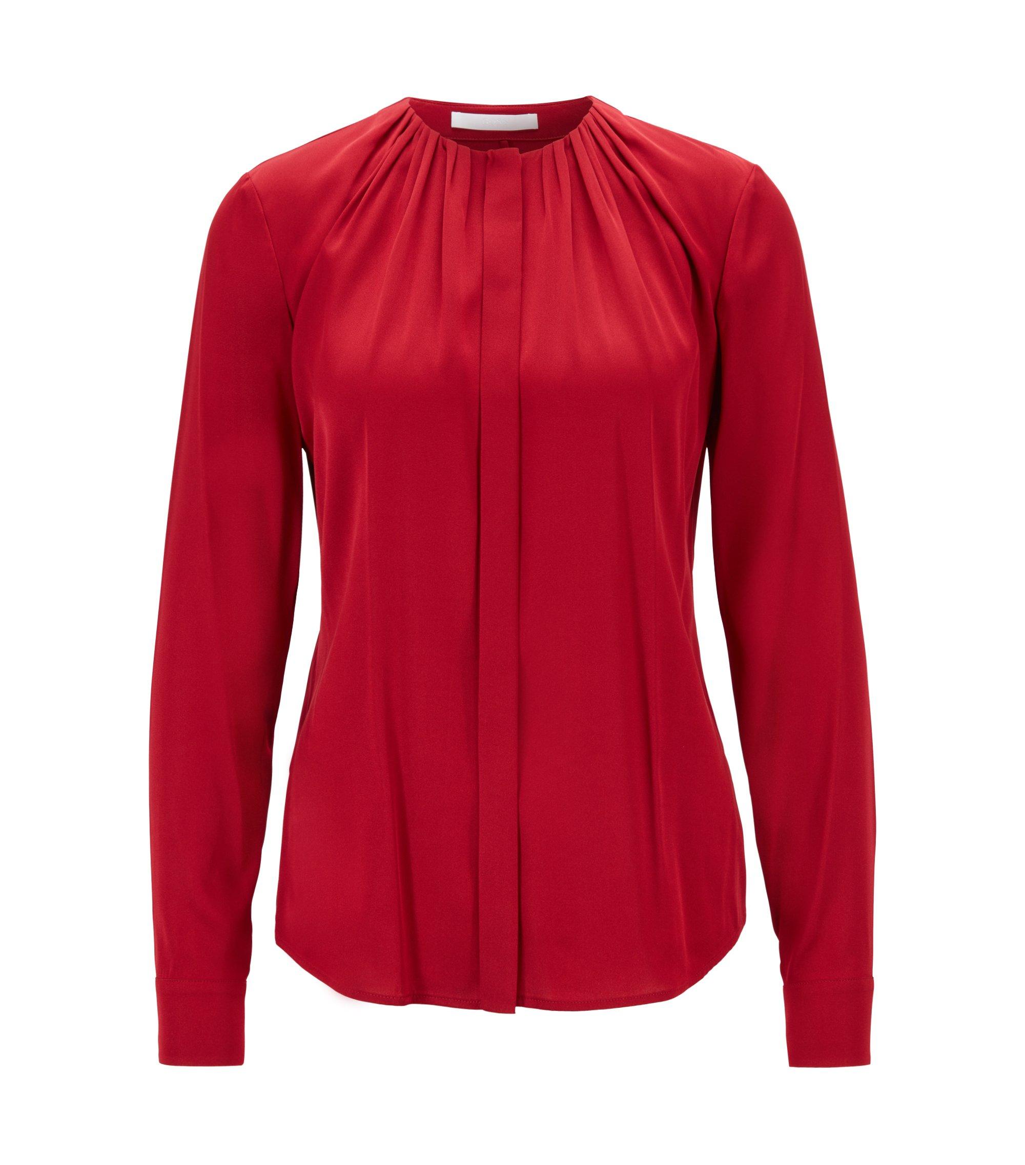 Blusa en mezcla de seda con escote fruncido, Rojo oscuro