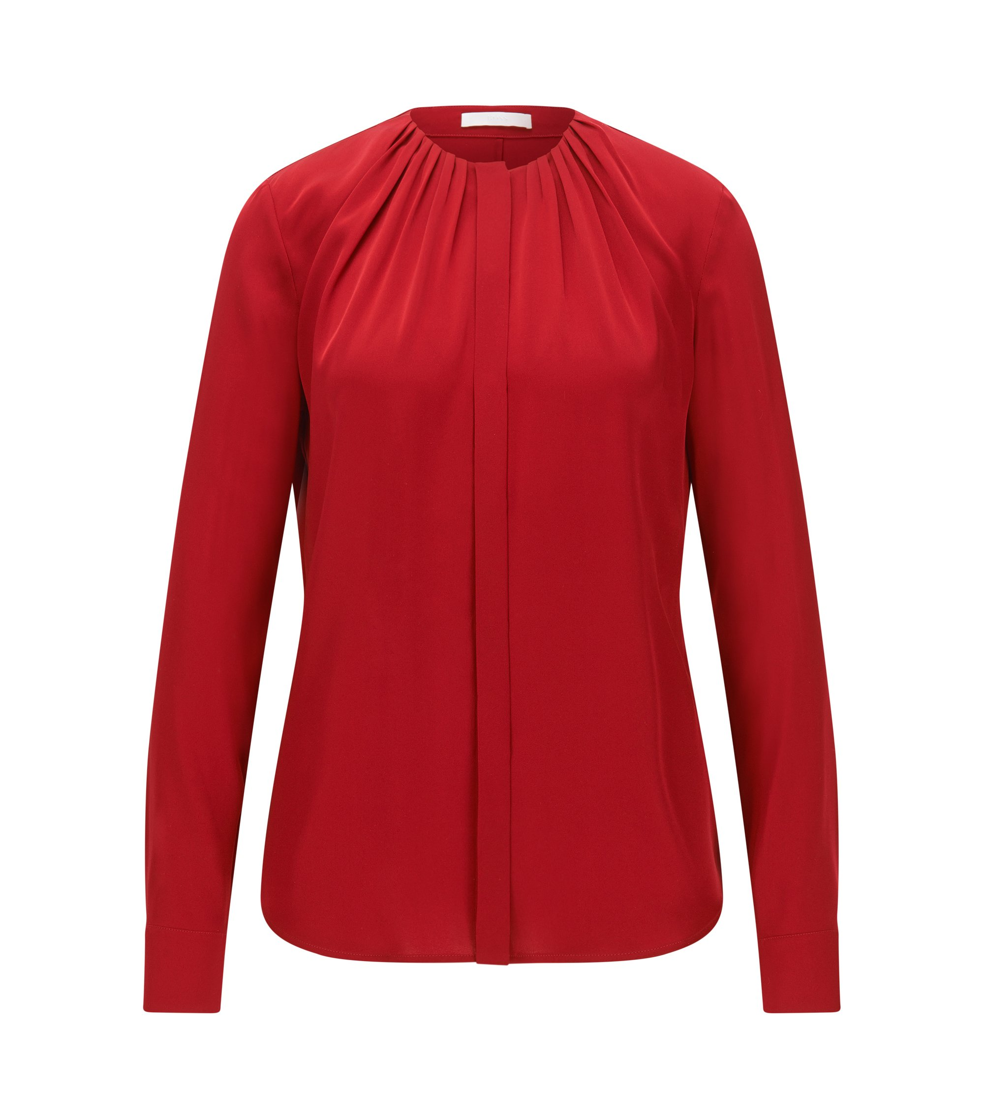 Silk-blend blouse with gathered neckline, Red