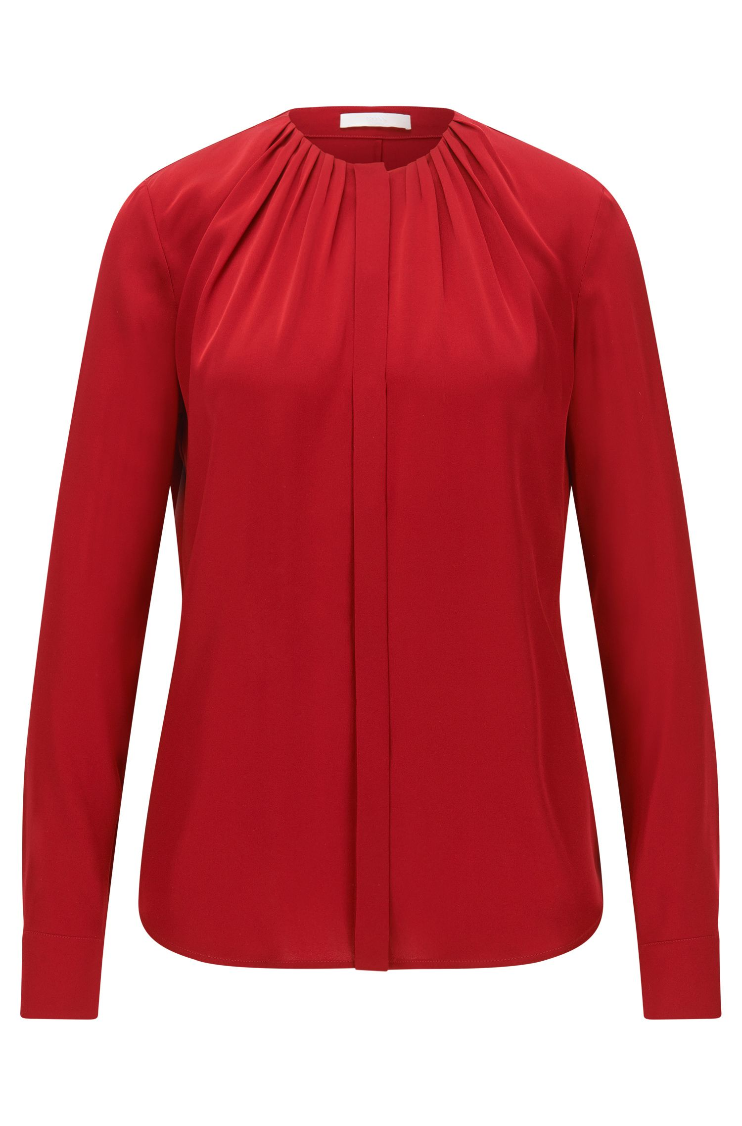 Silk-blend blouse with gathered neckline
