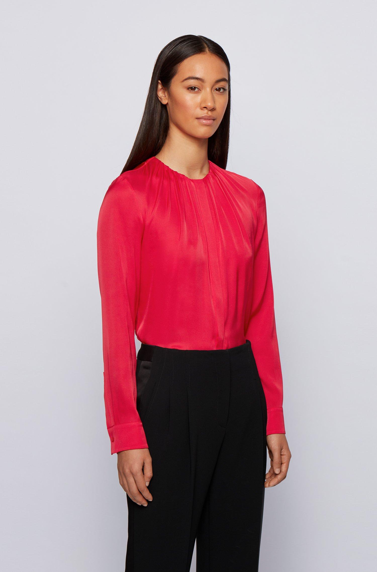Silk-blend blouse with gathered neckline, Pink