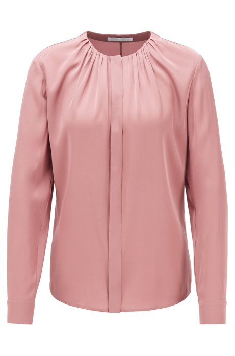 Silk-blend blouse with gathered neckline, light pink