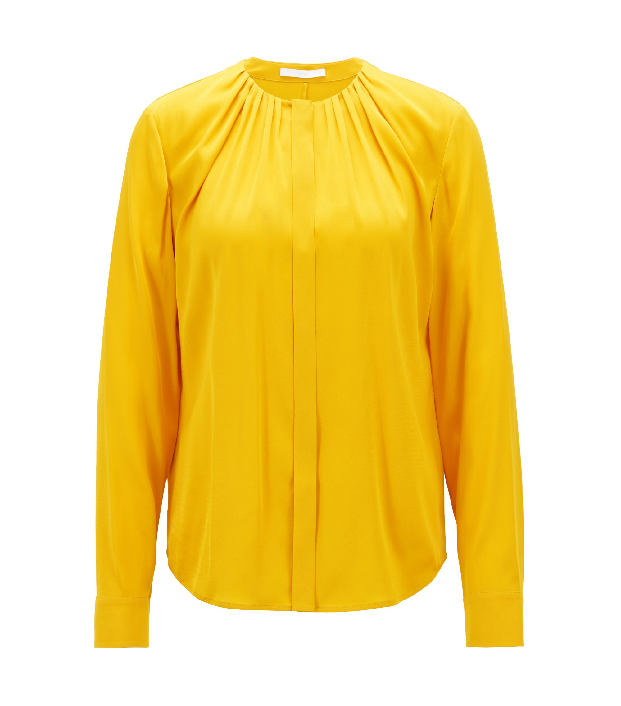 Silk-blend blouse with gathered neckline, Yellow