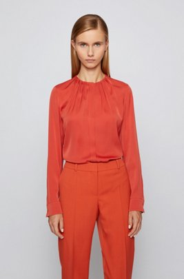 Silk-blend blouse with gathered neckline, Dark Orange