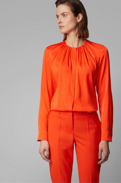 Silk-blend blouse with gathered neckline, Orange