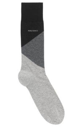 Colour-Block-Socken aus gekämmtem Baumwoll-Mix, Schwarz
