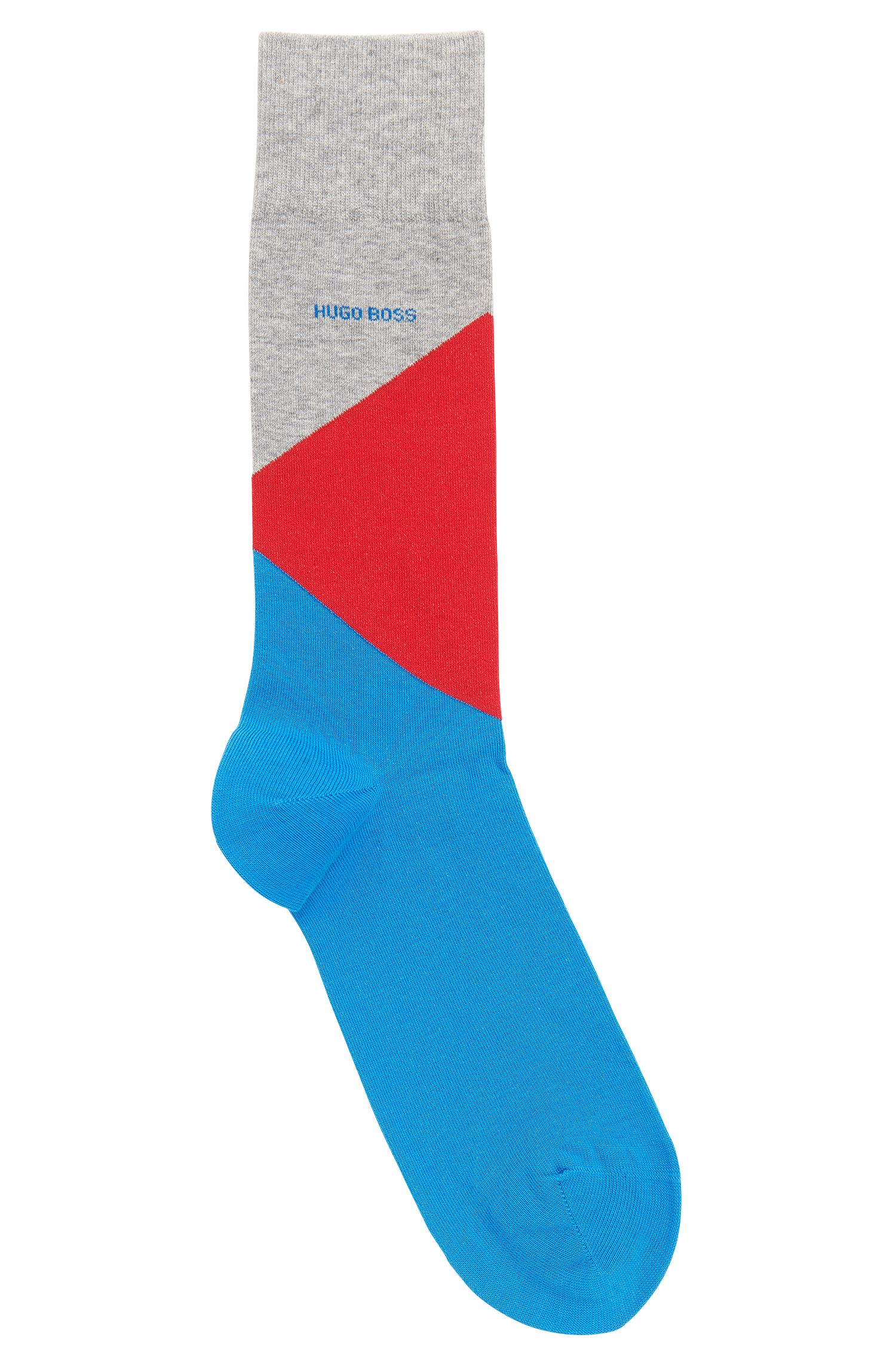 Colourblock socks blended with combed cotton