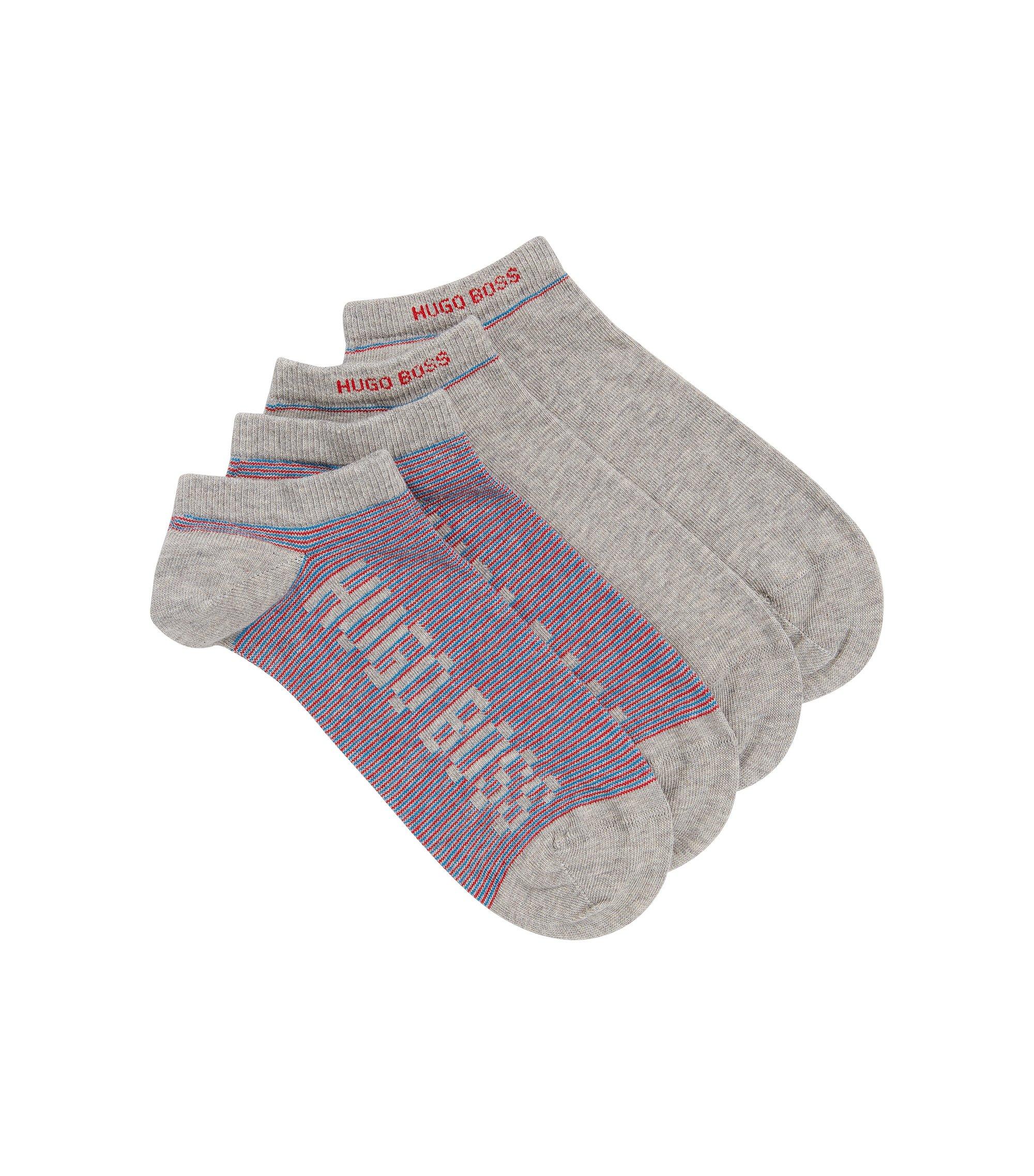 Zweier-Pack Sneaker-Socken aus gekämmtem Baumwoll-Mix, Silber