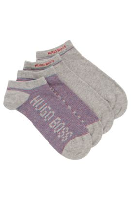 Two-pack of ankle socks blended with combed cotton, Silver