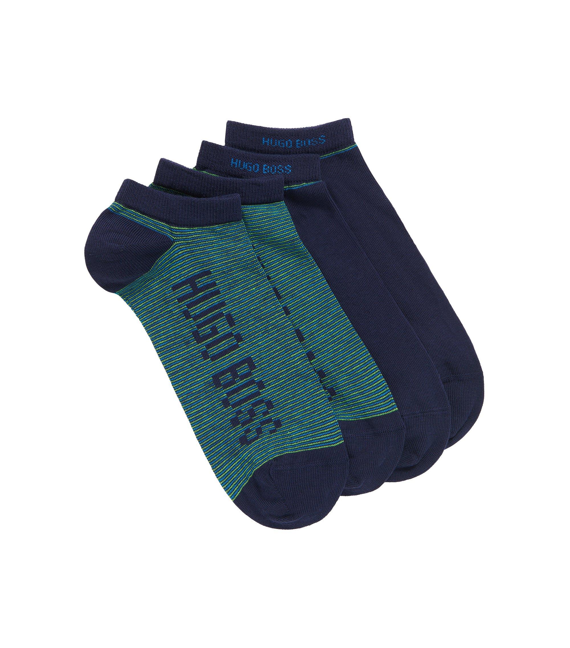 Lot de deux paires de chaussettes basses, en coton peigné mélangé, Bleu foncé
