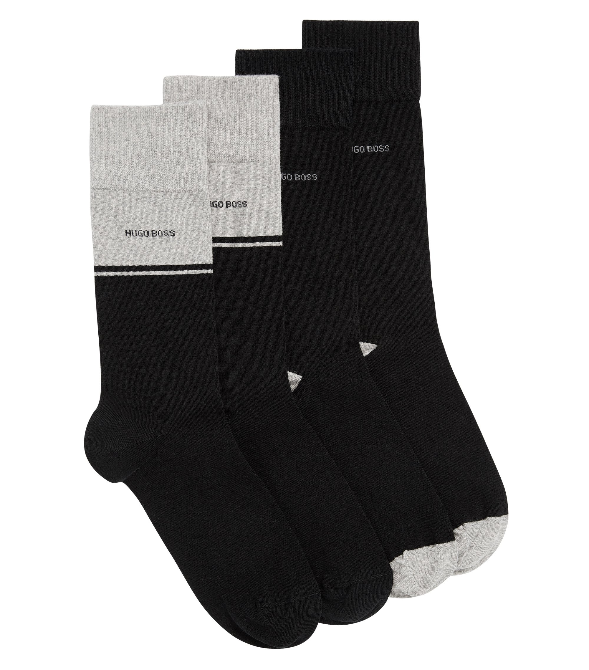 Two-pack of regular-length socks in combed cotton blend, Black