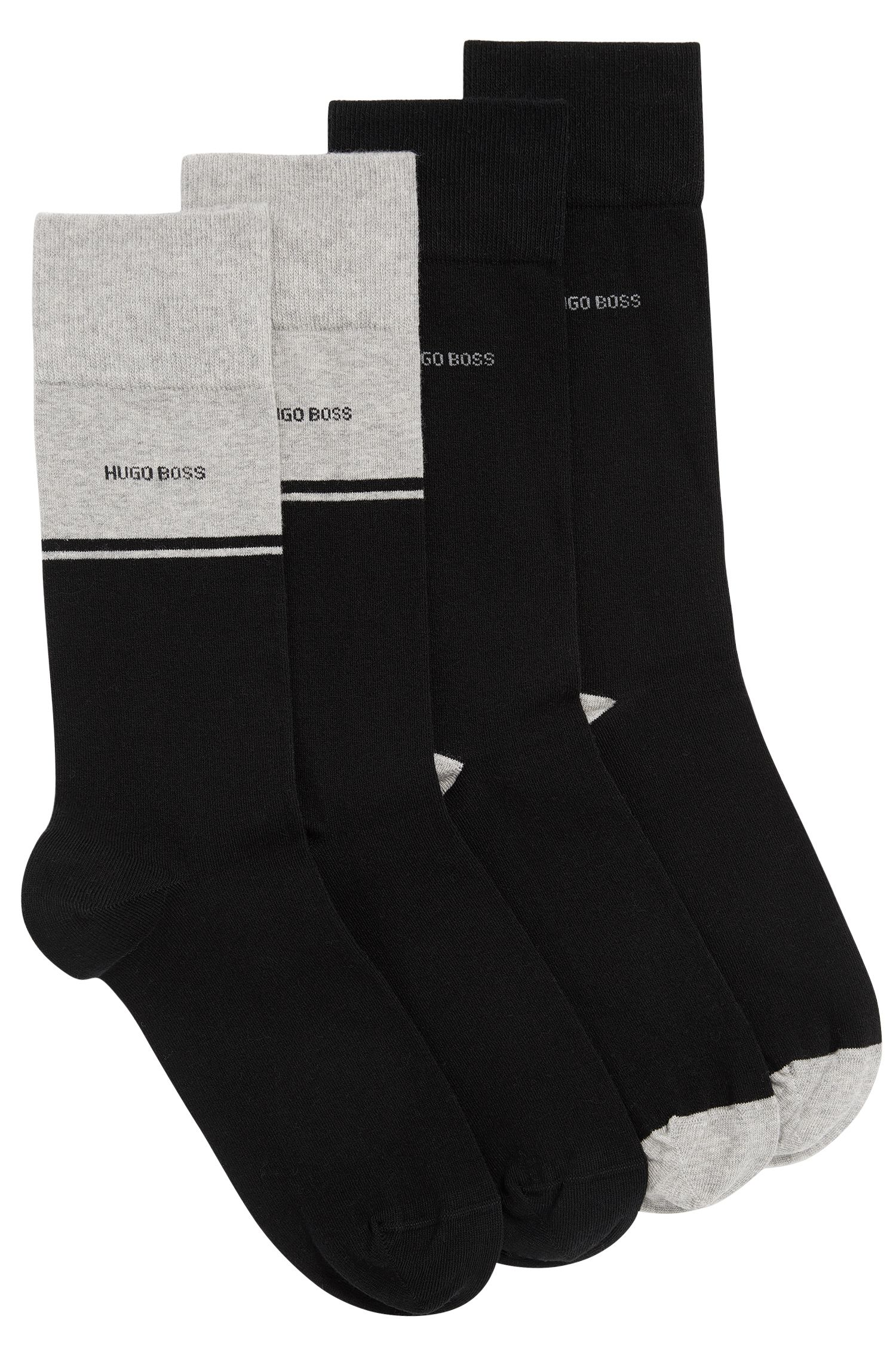 Two-pack of regular-length socks in combed cotton blend