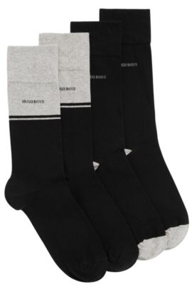 Two-pack of regular-length socks in combed cotton blend, Black