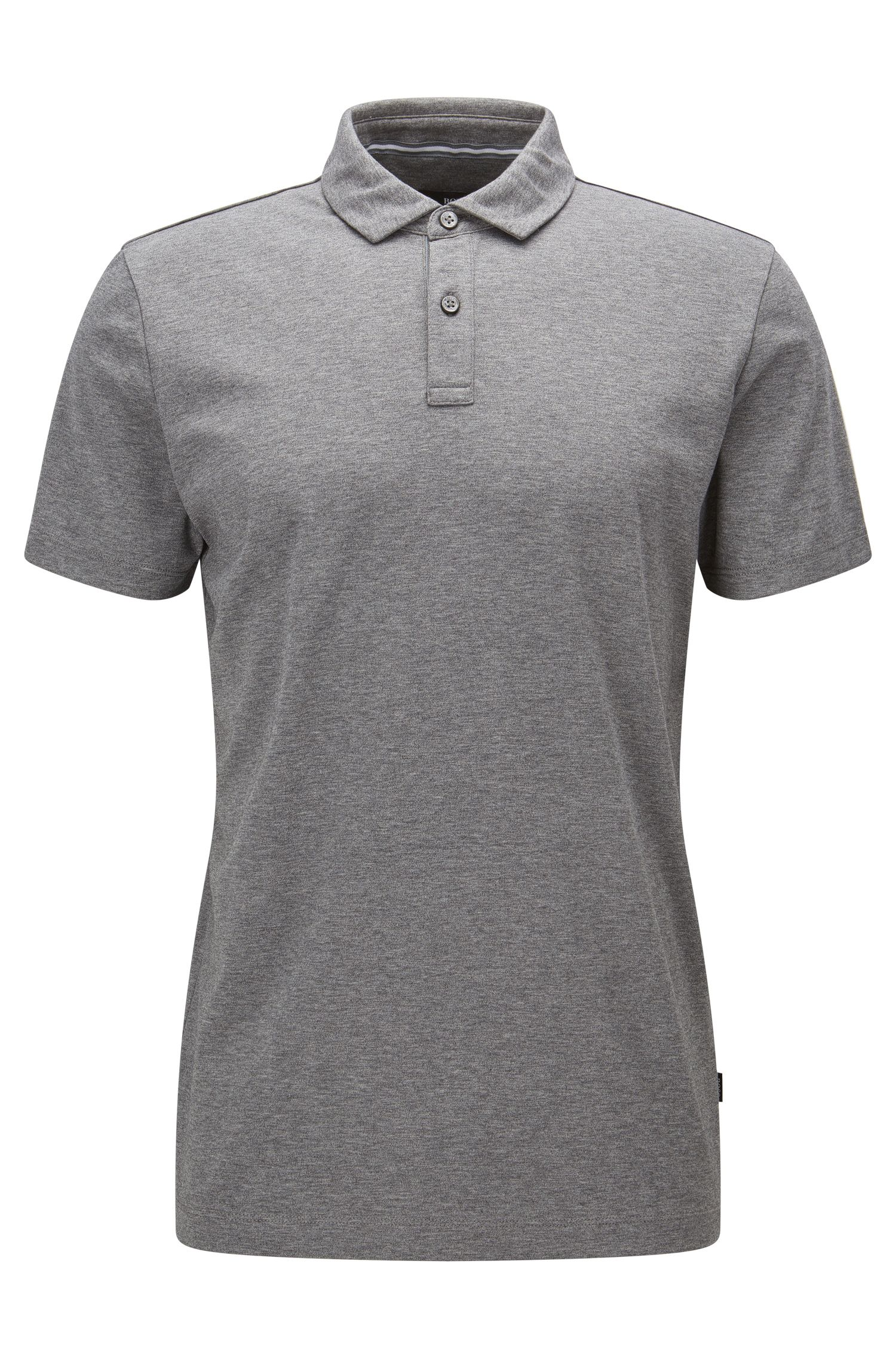Regular-fit poloshirt van interlocked katoen, Grijs