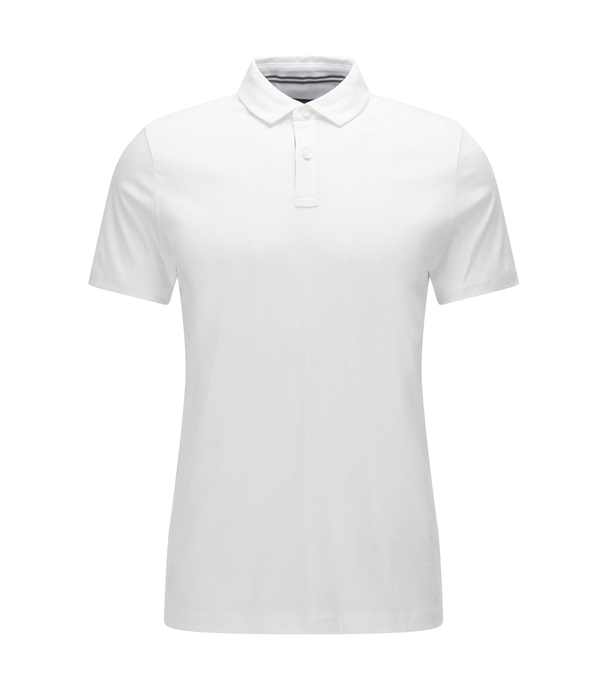 Polo Regular Fit en coton interlock, Blanc