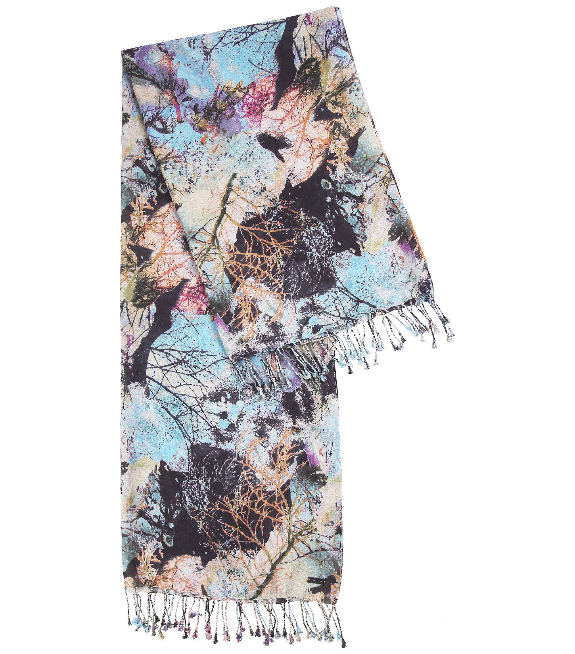 Lichtgewicht sjaal van katoen en modal, Bedrukt