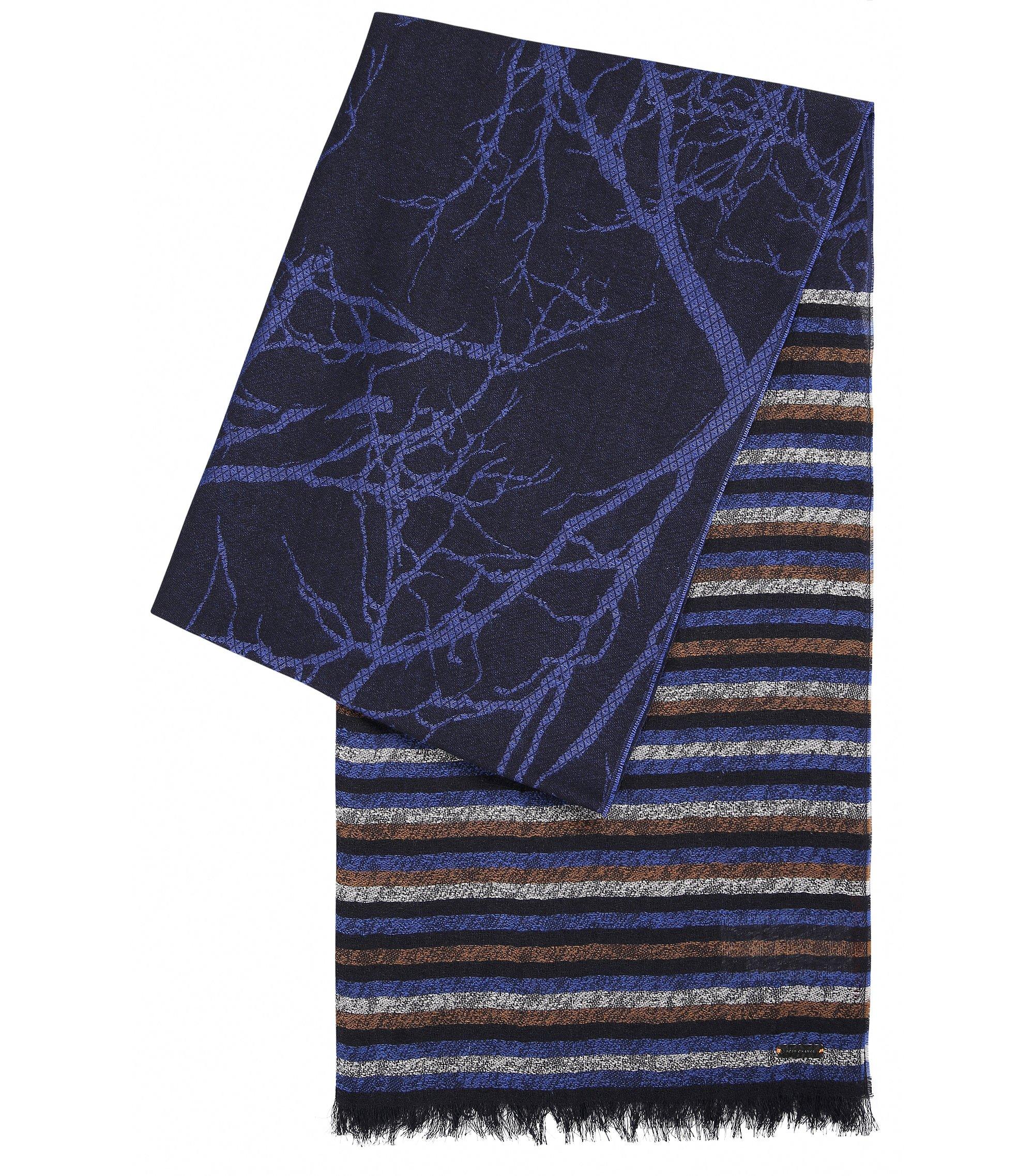 Foulard jacquard orné de différents motifs, Bleu foncé