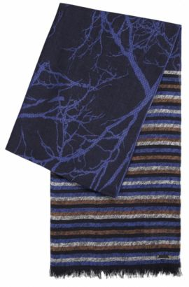 Jacquard scarf with mixed patterns, Dark Blue
