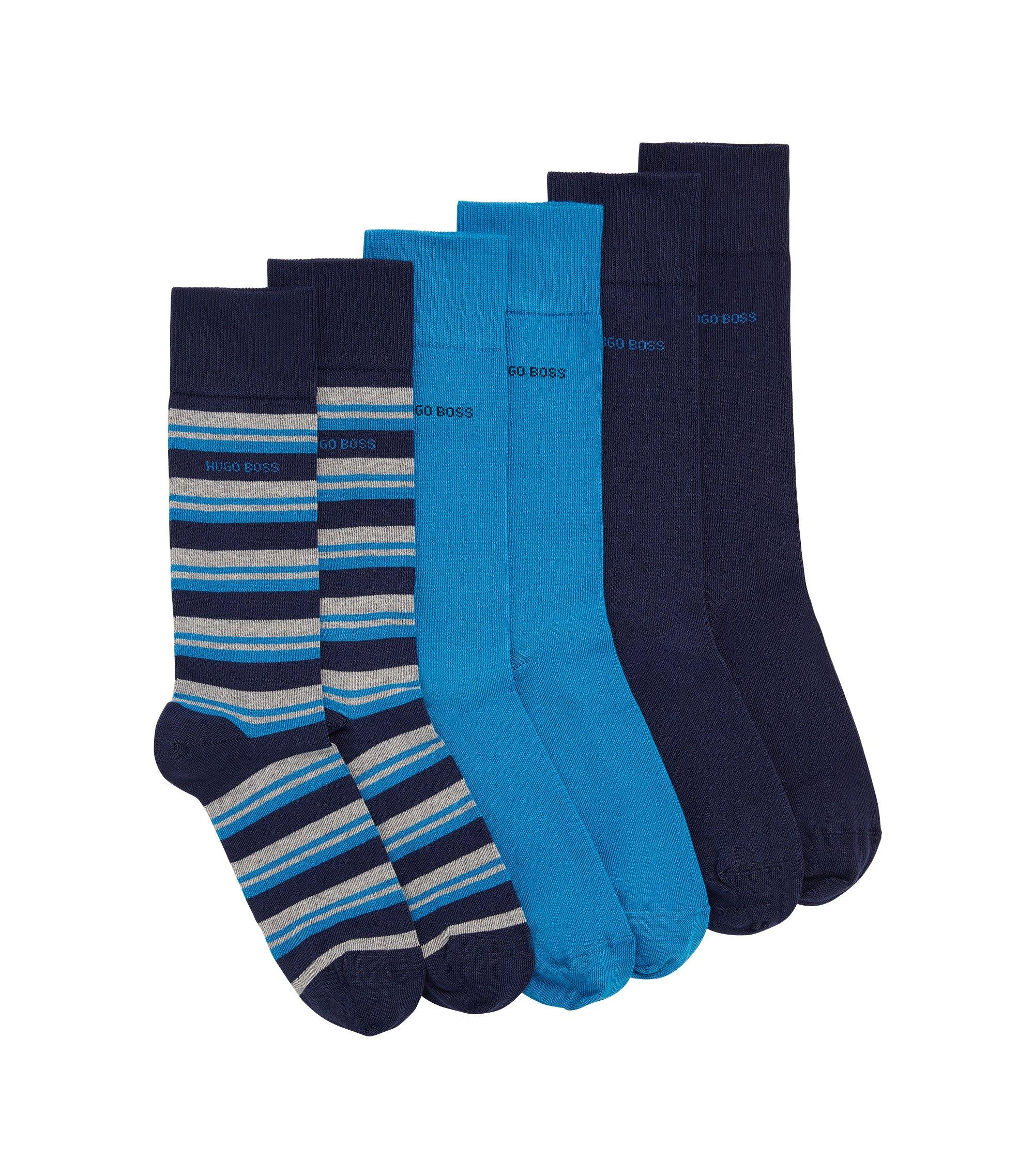 Dreier-Pack Socken aus elastischem Baumwoll-Mix, Dunkelblau