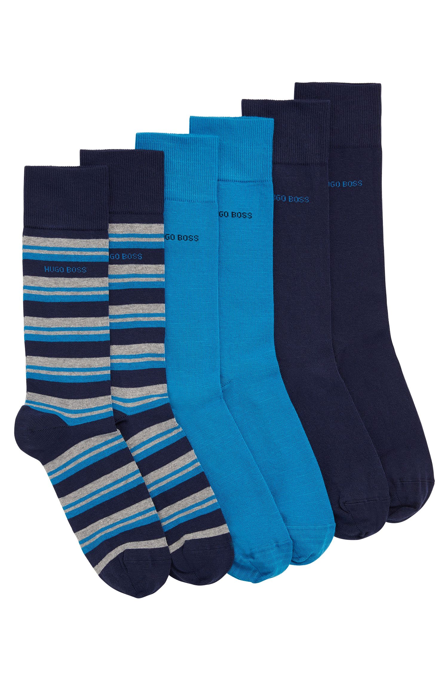 Three-pack of regular-length socks in combed cotton blend