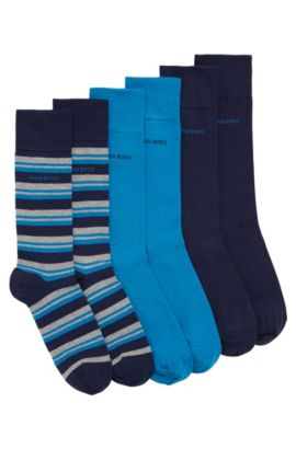 Three-pack of regular-length socks in combed cotton blend, Dark Blue